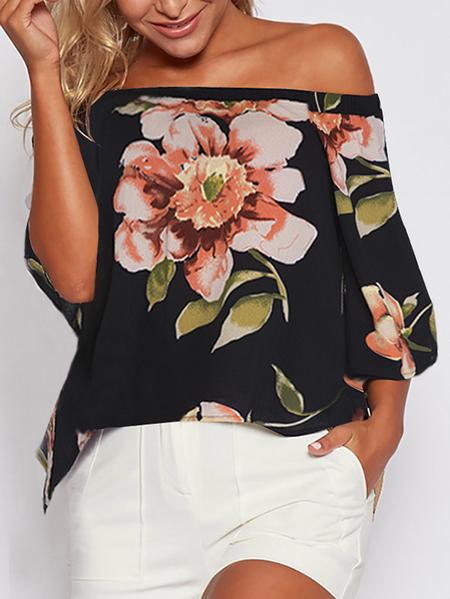 Yoins Black Slit Design Random Floral Print Off Shoulder Blouse