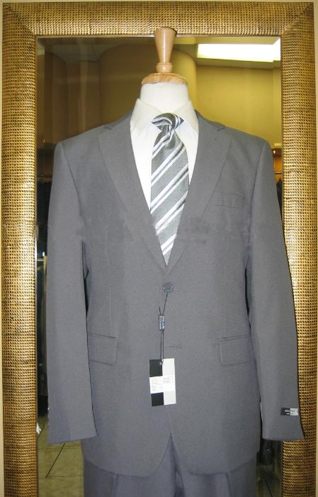 2 Button Grey Tapered Cut Flat Front Suit Mens Cheap