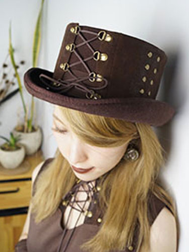 Milanoo Halloween Steampunk Hat Brown Beaded Lace Up Flat Top Hat Women's Steampunk Accessories Halloween