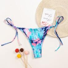Abstract Fluid Pattern Tie Side Bikini Thong
