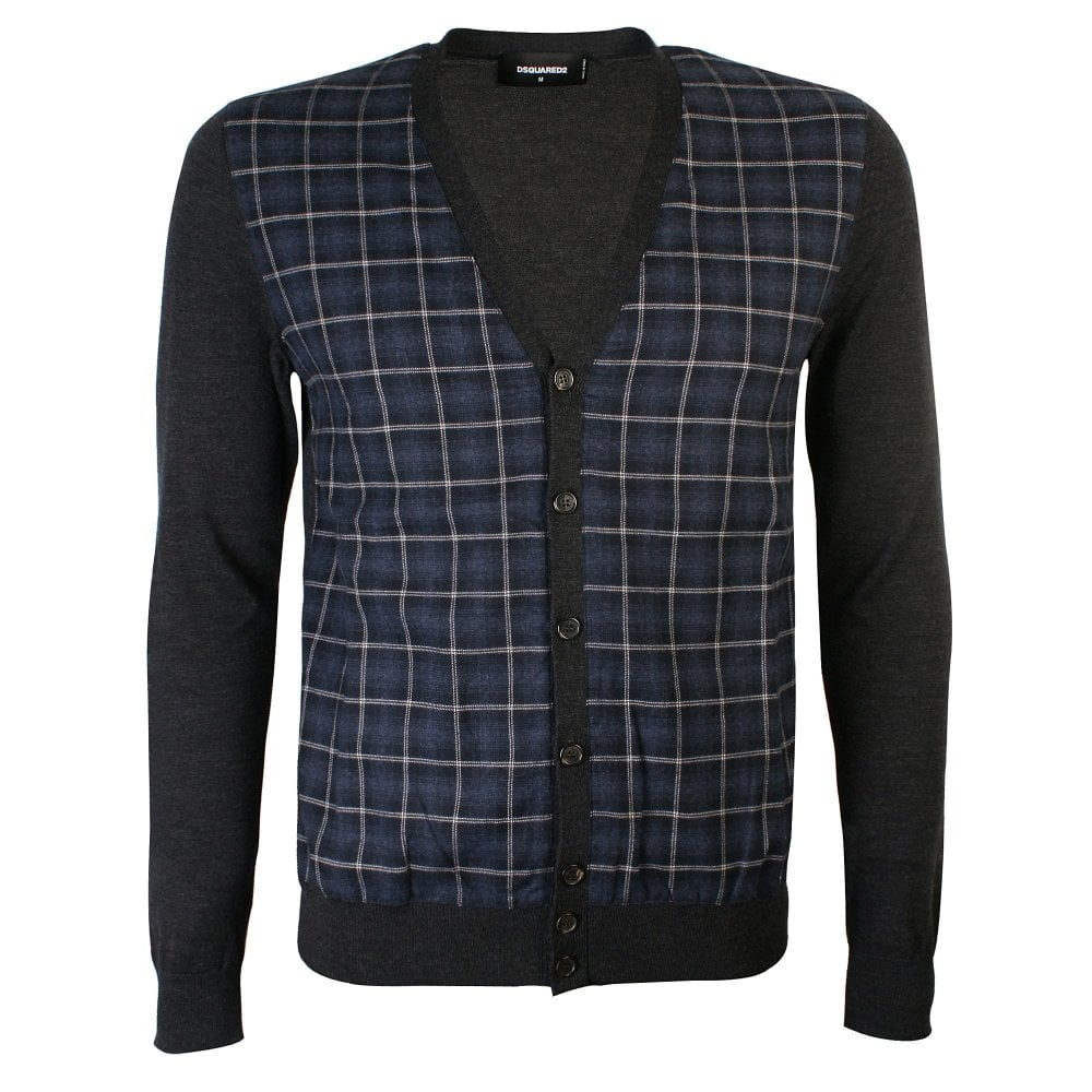 DSquared2 Dark Grey Checked Cardigan Colour: GREY, Size: MEDIUM