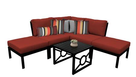 MADISON-06b-TERRACOTTA Kathy Ireland Homes and Gardens Madison Ave. 6 Piece Aluminum Patio Set 06b with 1 Set of Snow and 1 Set of Cinnamon