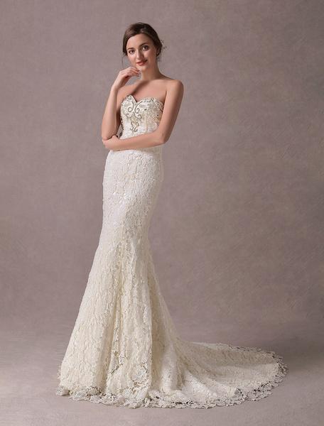 Milanoo Vestidos de novia de la sirena Vestido de novia de cuentas de encaje sin tirantes de novia de marfil con el tren