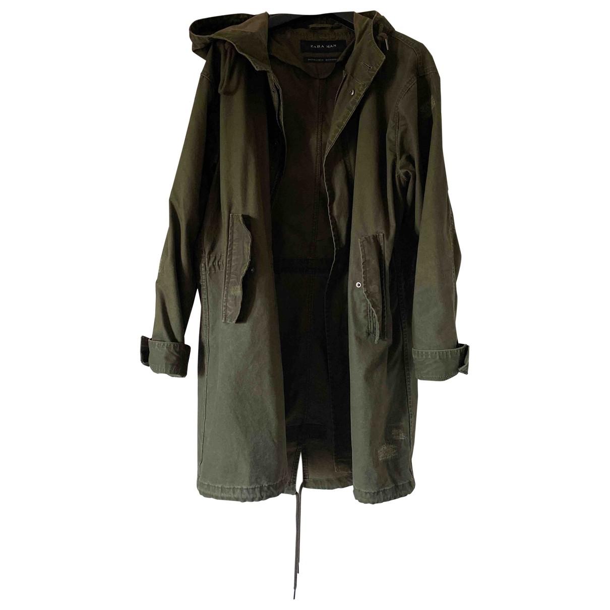 Zara - Manteau   pour homme en coton - vert