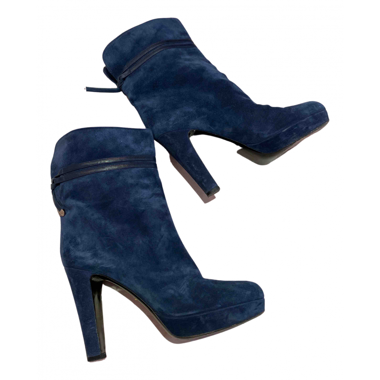 Sergio Rossi N Blue Suede Ankle boots for Women 40 IT