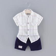 Kleinkind Jungen Hemd mit Plaid und Shorts Set mit Buchstaben Flicken