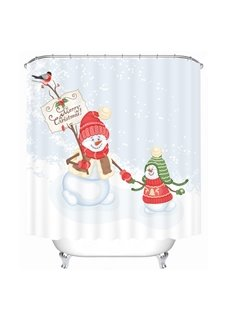 Snowmen Playing Together Printing Christmas Theme Bathroom 3D Shower Curtain