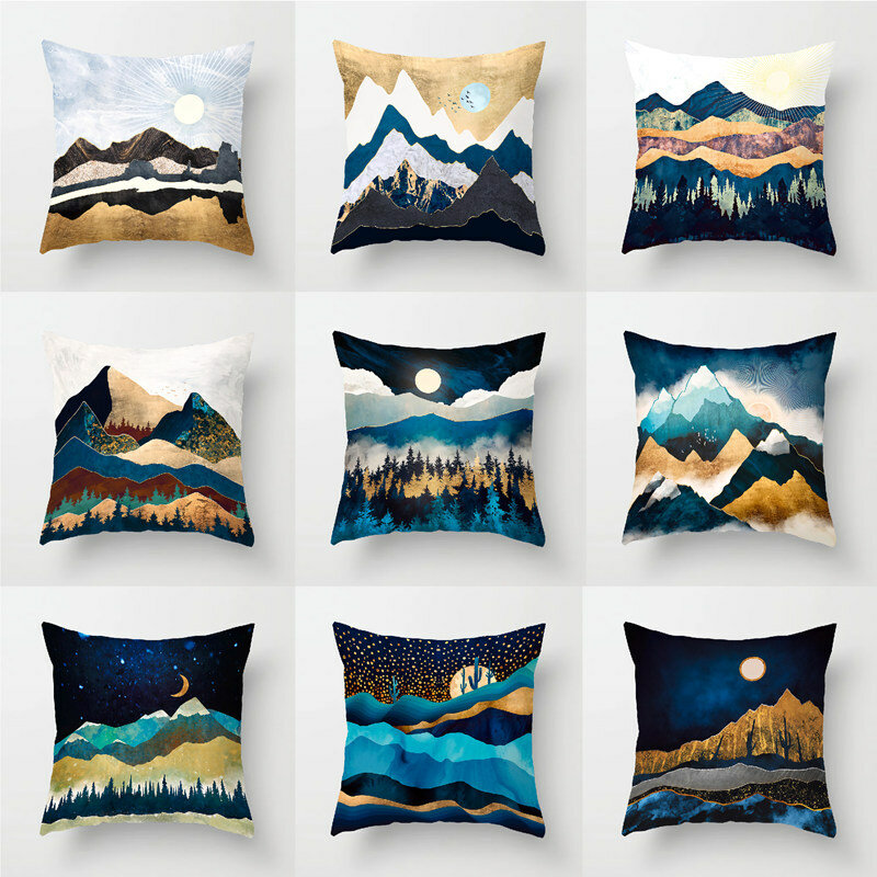 Marble Wind Landscape Water-cooled Blue Peach Velvet Pillowcase Home Fabric Sofa Cushion Cover