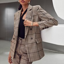 Notched Collar Double Breasted Plaid Blazer