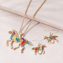 1 pieza collar colgante de caballo vistoso con 1 par pendientes