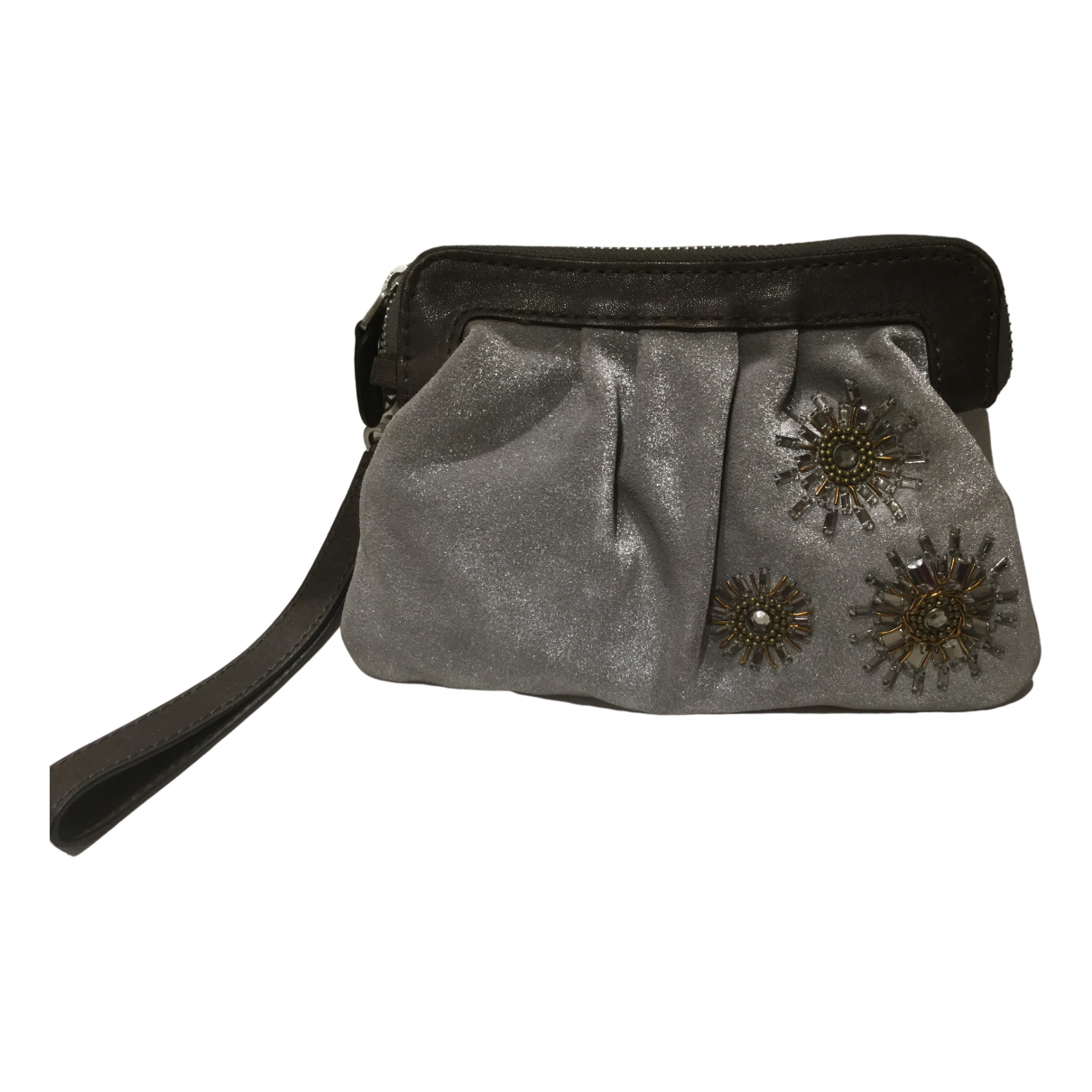 Fossil N Silver Velvet Clutch bag for Women N