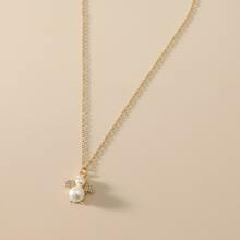 Pearl & Rhinestone Decor Necklace