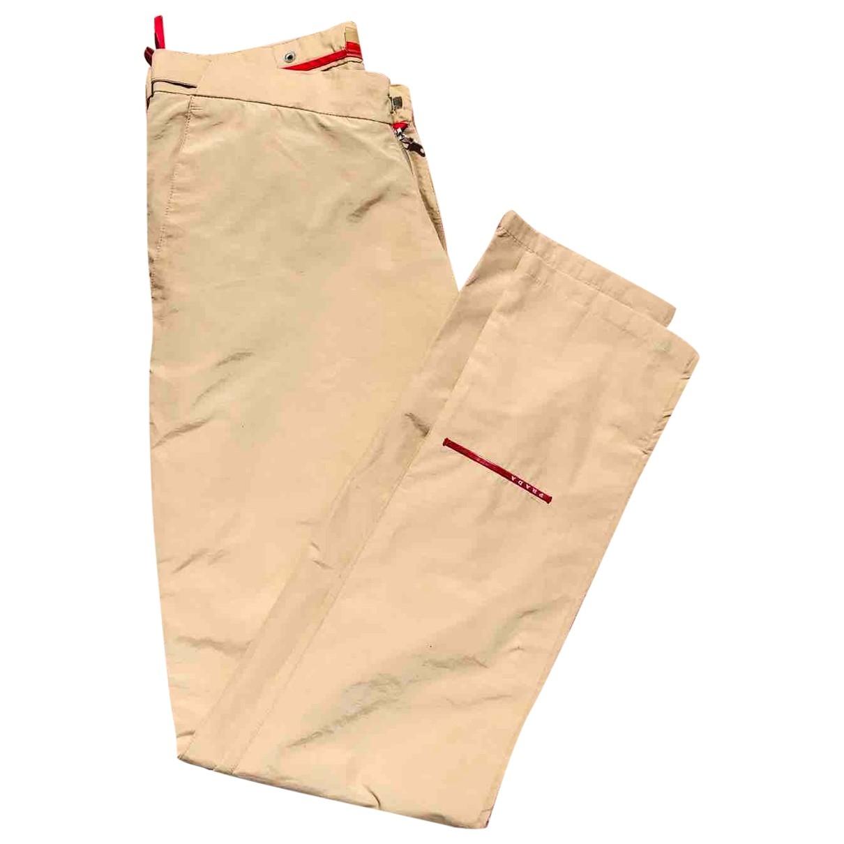 Prada \N Beige Cotton Trousers for Women 44 IT