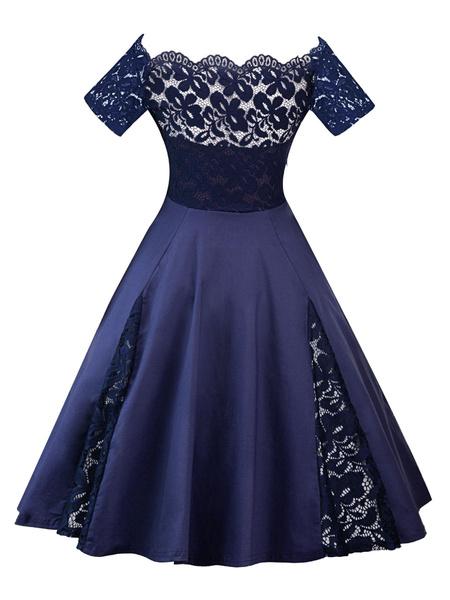 Milanoo Vestido vintage de talla grande con hombros descubiertos Vestido de encaje de manga corta con encaje