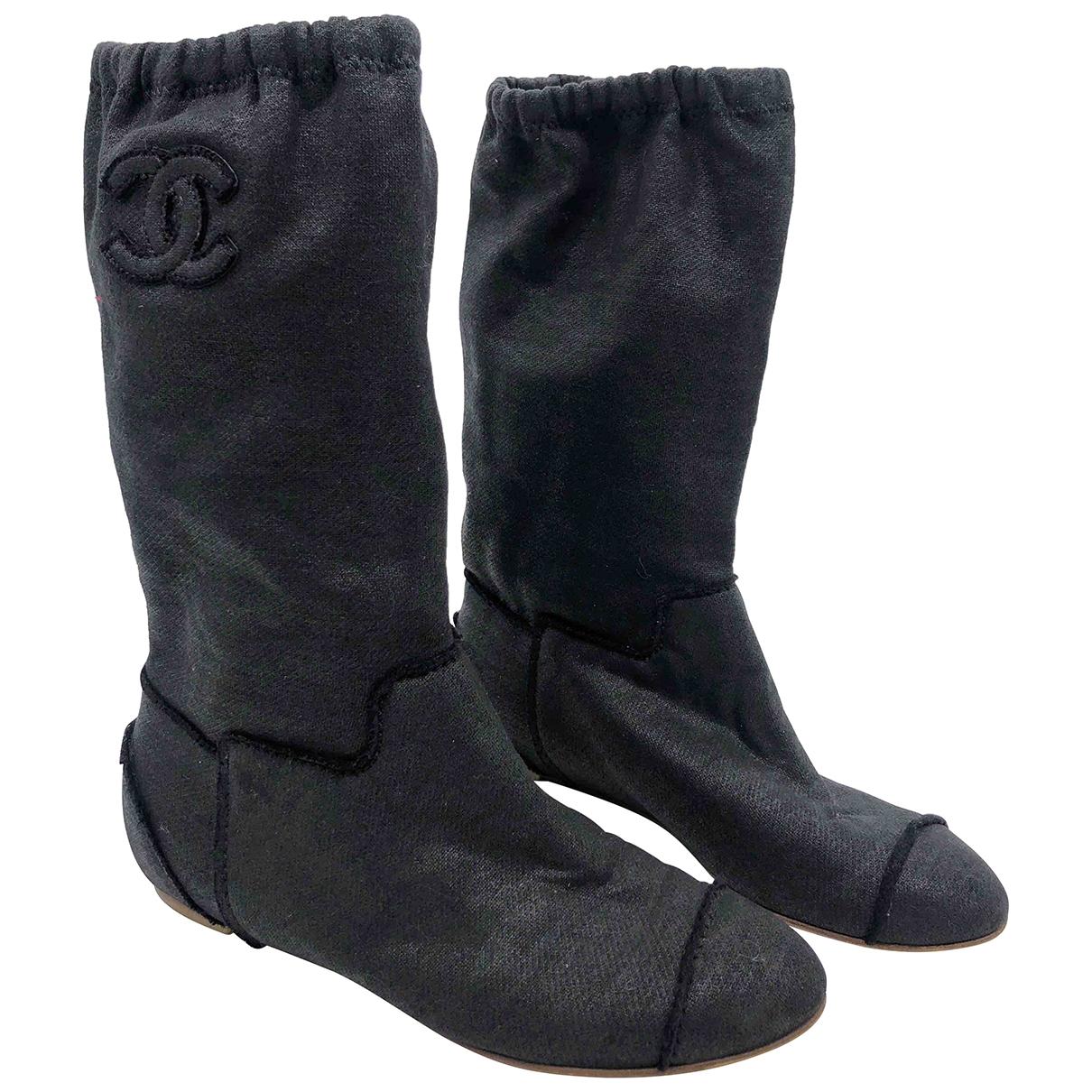 Chanel - Bottes   pour femme en toile - gris