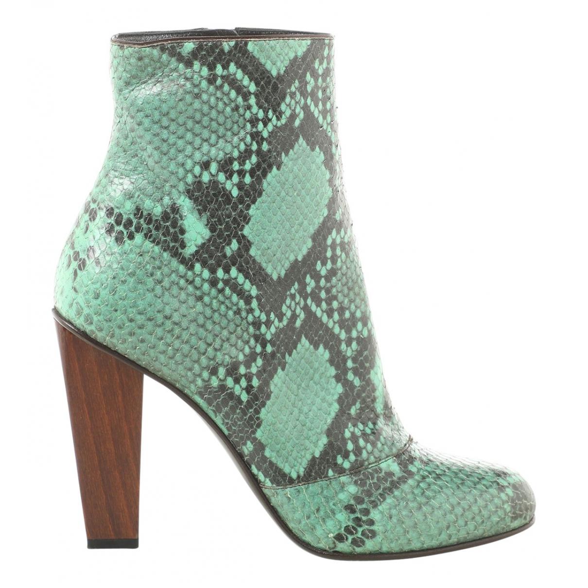 Dries Van Noten - Boots   pour femme en cuir - vert