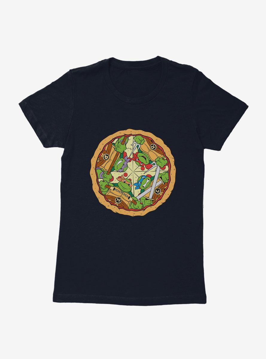 Teenage Mutant Ninja Turtles Group On Pizza Slices Womens T-Shirt