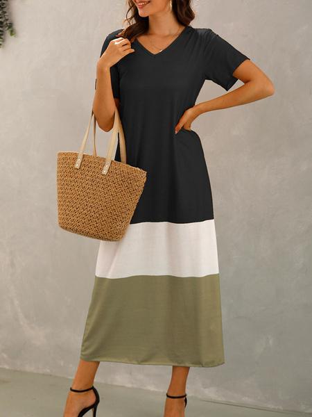 Milanoo Oversized Maxi Dresses Short Sleeves Color Block Cotton Blend Summer Dress