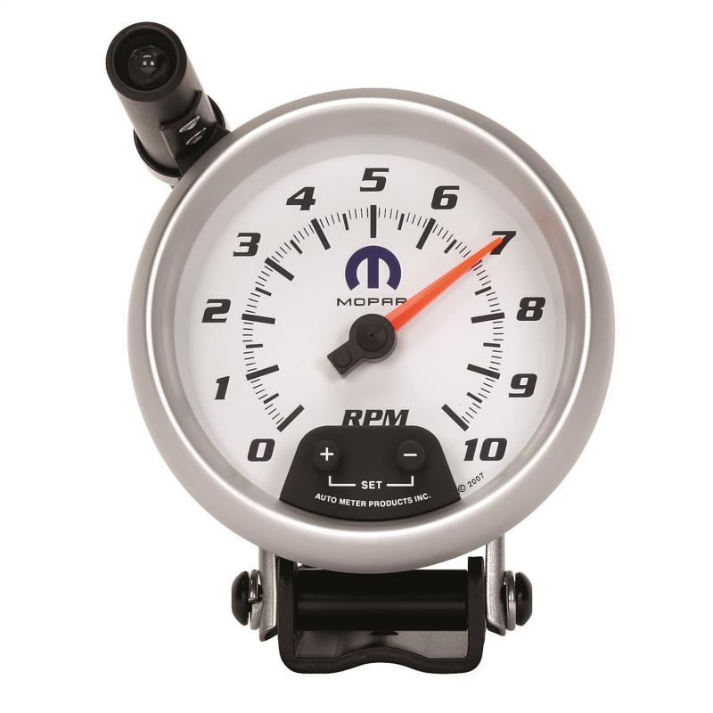AutoMeter GAUGE; TACHOMETER; 3 3/4in.; 10K RPM; PEDESTAL W/EXT. QUICK-LITE; WHITE; MOPAR