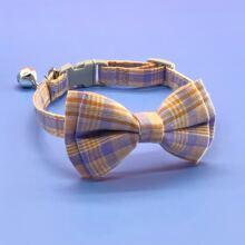 1 Stueck Katze Halsband mit Karo Muster, Schleife & Glocken Dekor