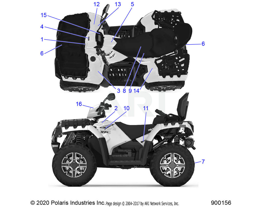 Polaris OEM 7187458 DECAL-GREASING POINTS, TRC, X2 | [NOT ILLUSTRATED]