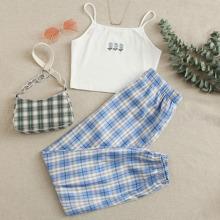 Cami Top mit Bluemchen Stickereien und Hose Set mit Karo Muster