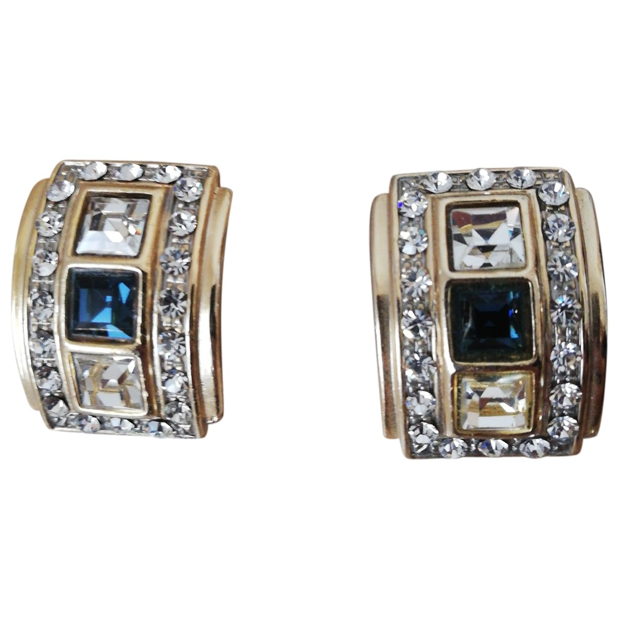 Non Signe / Unsigned Art Deco OhrRing in  Blau Kristall