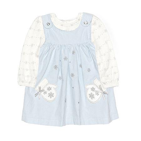 Nannette Baby Girls Long Sleeve Dress Set, 12 Months , Blue