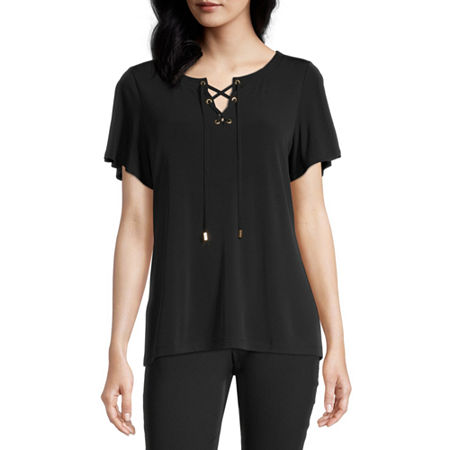 Liz Claiborne Womens Split Crew Neck Short Sleeve Blouse, Petite X-small , Black