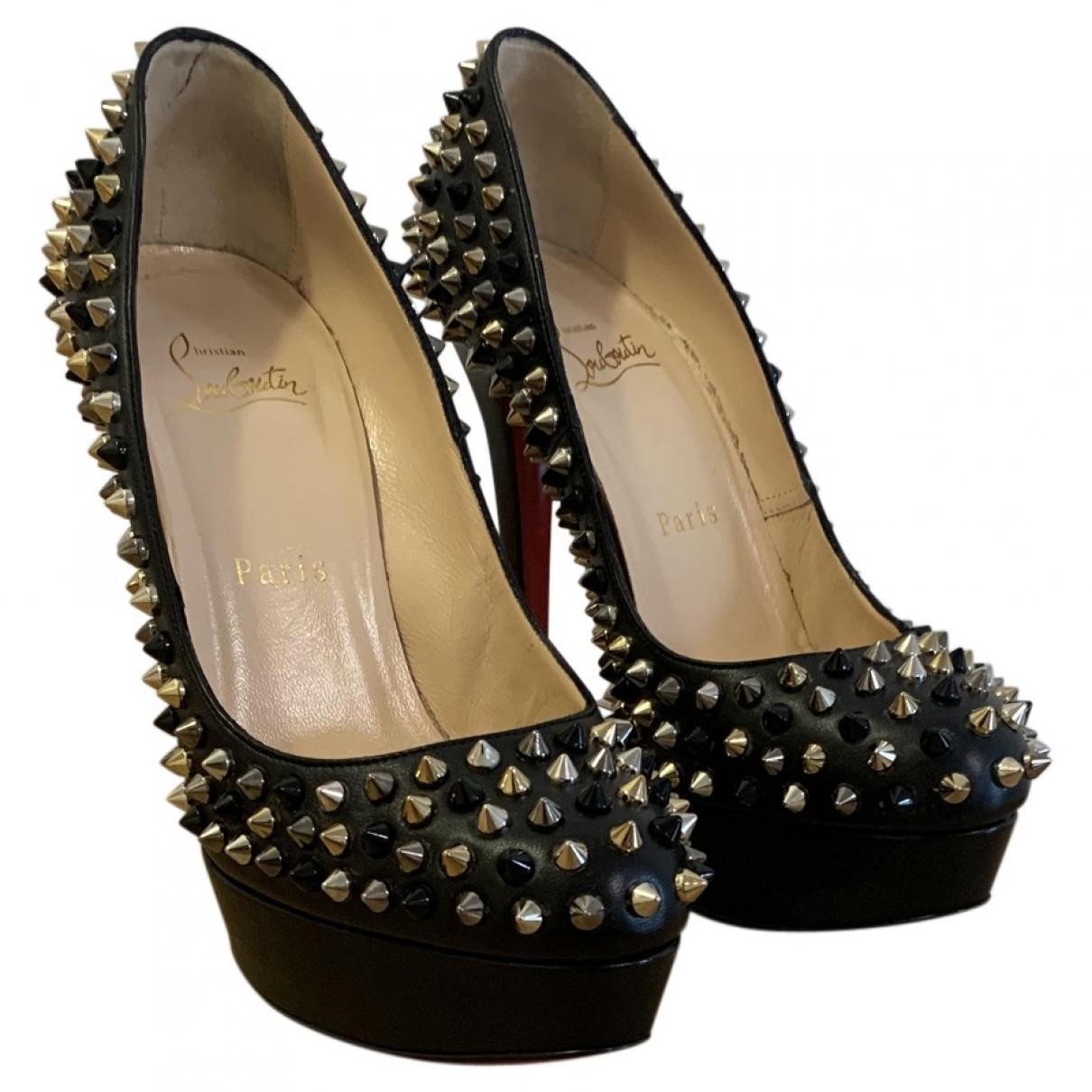 Christian Louboutin Bianca Black Leather Heels for Women 37.5 EU