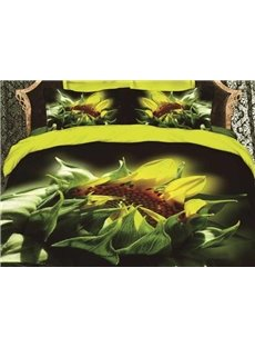 3D Blooming Sunflower Printed Cotton 4-Piece Bedding Sets/Duvet Covers