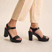 Open Toe Chunky Heeled Ankle Strap Sandals