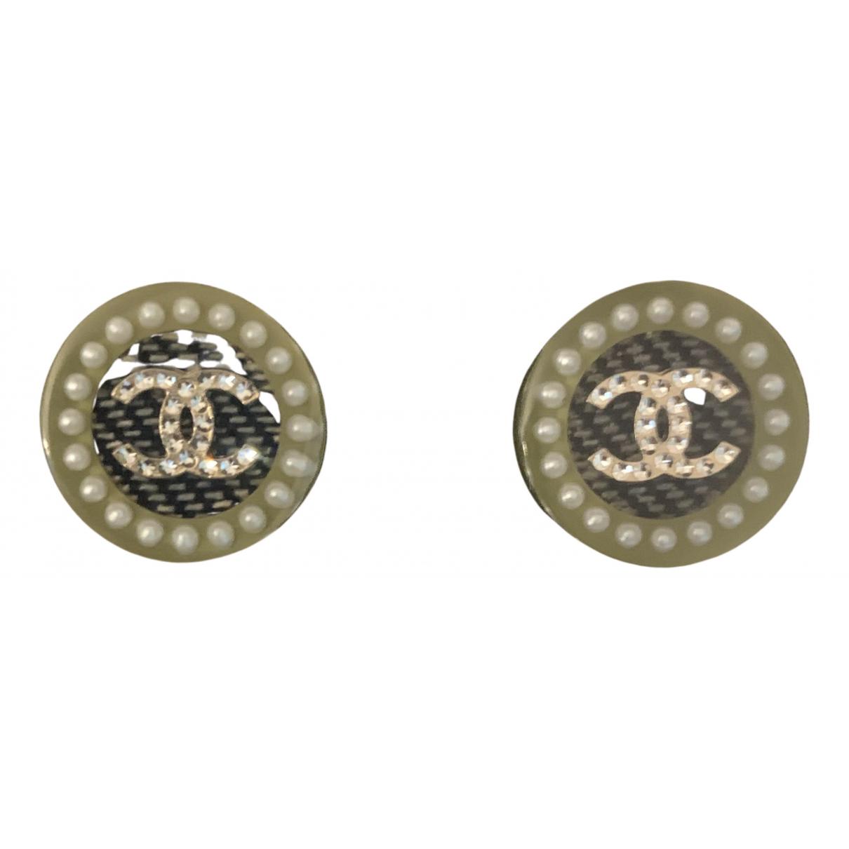 Chanel - Boucles doreilles CC pour femme en metal - vert