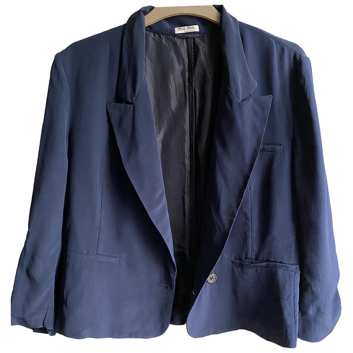 Miu Miu - Veste   pour femme en soie - bleu