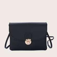 Push Lock Flap Crossbody Bag