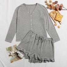 Schlafanzug Set mit Knopfen vorn und Rueschenbesatz