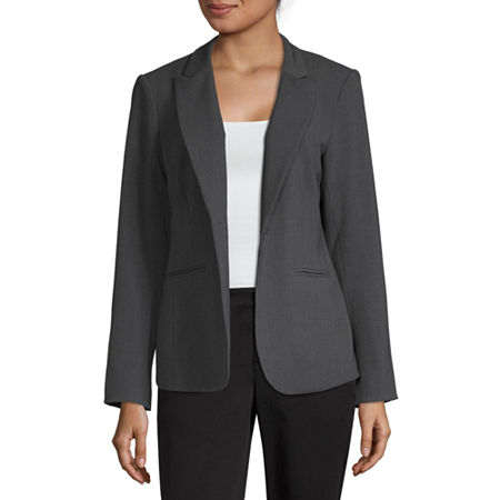 Liz Claiborne One-Button Peak Lapel Blazer, 18 , Gray