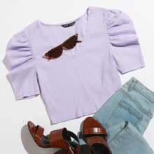 Strick T-Shirt mit Spitzenbesatz und Puffaermeln