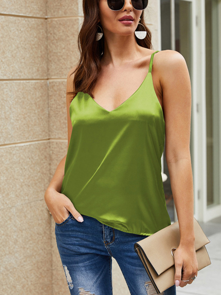 Yoins Green Casual V-neck Sleeveless Cami