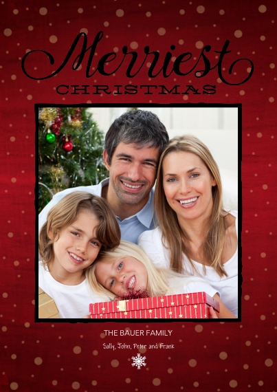 Christmas Photo Cards Set of 20, Premium 5x7 Foil Card, Card & Stationery -Merry Christmas Crimson