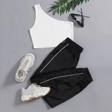 One Shoulder Top & Contrast Tipping Wind Pants Set