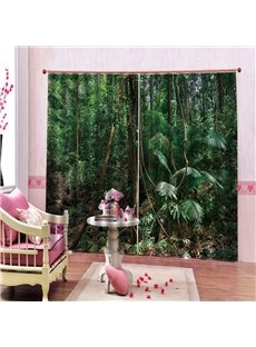 Green Rainforest 3D Scenery Curtain 200g/㎡ Polyester HD Graphic Designs Printed with Advanced Color-Fast Technology No Pilling No Fading