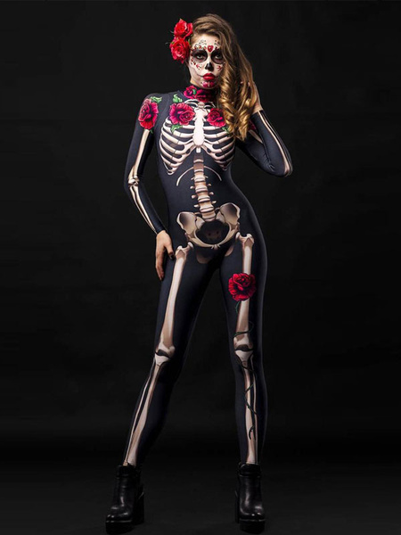 Milanoo Traje de Halloween Esqueleto Zentai Flor Traje de Halloween