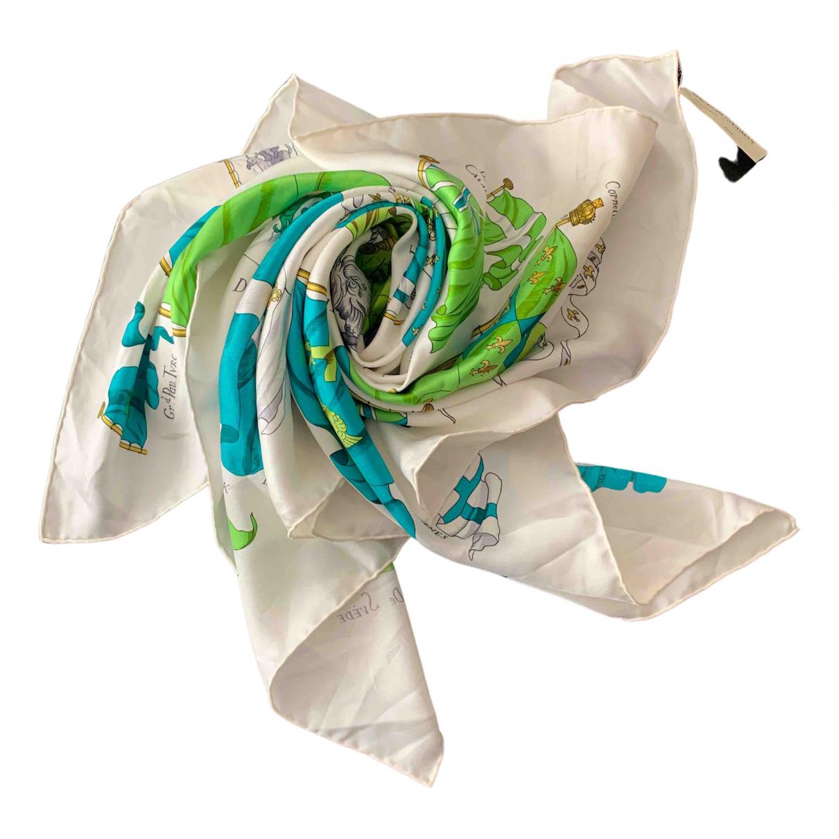 Hermes - Carre Carre 90 pour femme en soie - turquoise