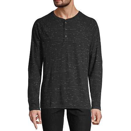 Arizona Mens Long Sleeve Henley Shirt, Medium , Black