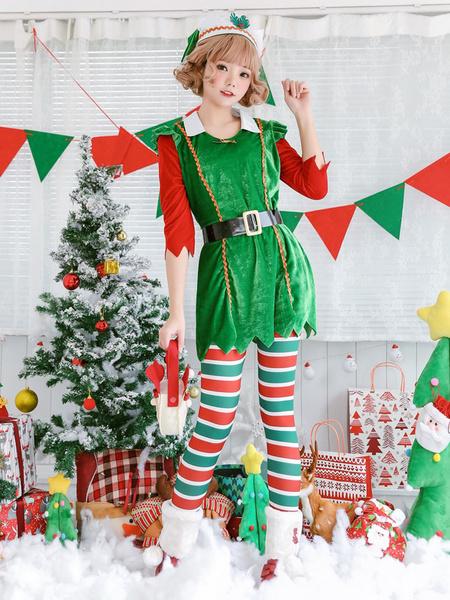 Milanoo Christmas Tree Costume Women Green Dresses Outfit Pantyhose Sash Hat Set 4 Piece Halloween