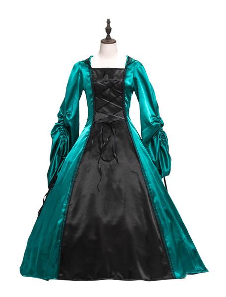 Milanoo Victorian Dress Costume Women's Baroque Brown Ball Gown Masquerade Floral Print Royal Long Sleeves Grren Victorian era Clothing Retro Costume