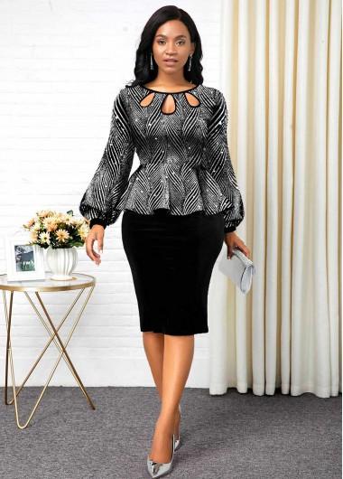 Black Dresses Hot Stamping Lantern Sleeve Peplum Waist Dress - M