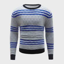 Guys Striped Contrast Binding Sweater