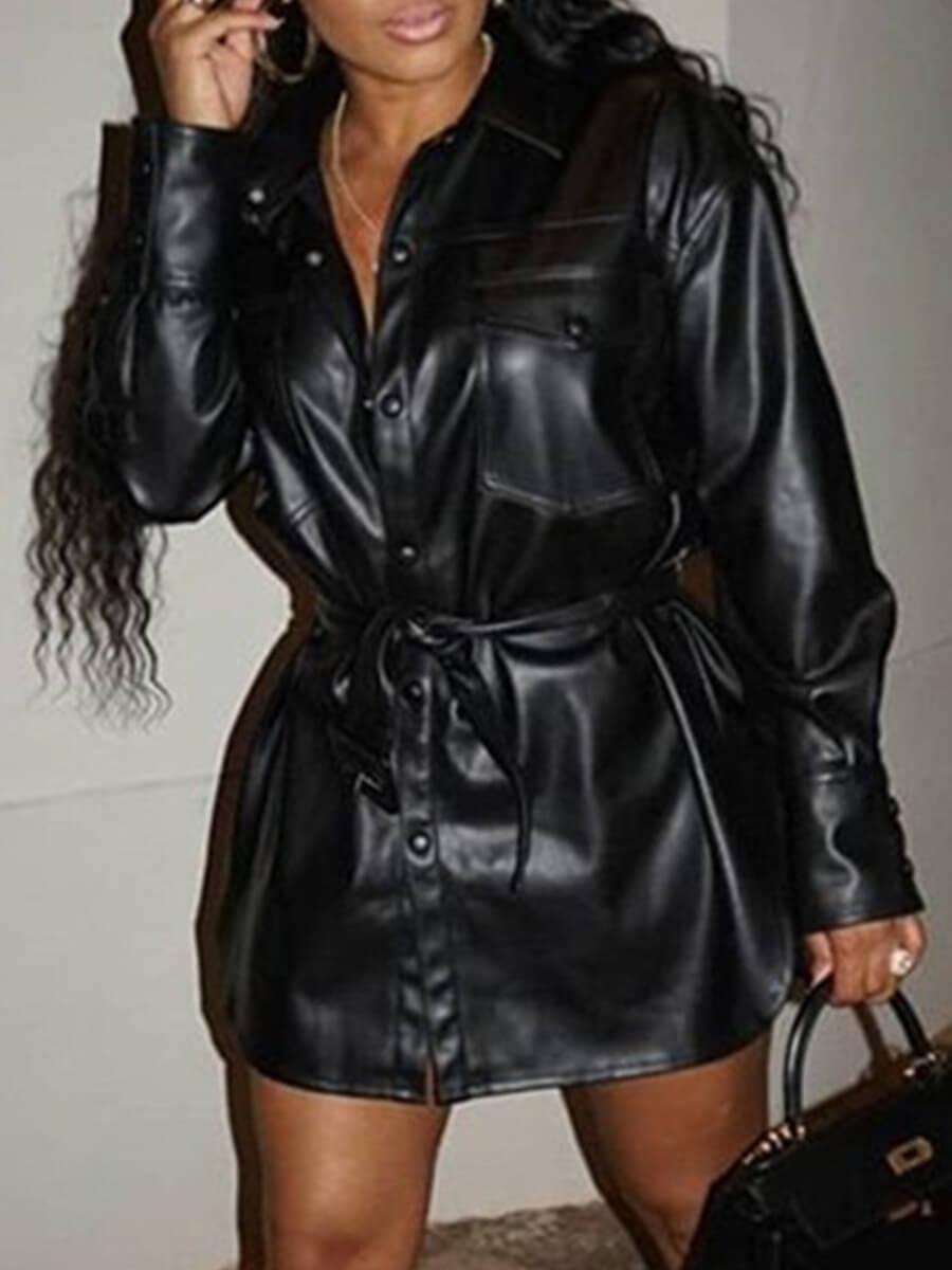 LW Lovely Trendy Turndown Collar Buttons Design Black Leather